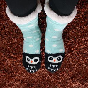Owl Plush Faux Sherpa Slipper Socks